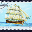 Stock Photo: Postage stamp with image of ancient ship.