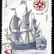 "Postage stamp with the image the ancient ship ""Poltava"" — Stock Photo"