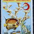 Postage stamp with the image of aquarium fish — Zdjęcie stockowe