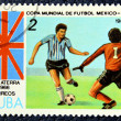 Postage stamp with the image of the football — Foto Stock