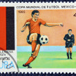 Postage stamp with the image of the football — Stock fotografie
