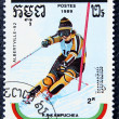 Stok fotoğraf: Postage stamp with image of ski slalom