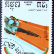 Stok fotoğraf: Postage stamp with image of bobsleigh