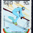 Postage stamp with the image of a ski jumper - Stock Photo