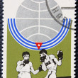 Postage stamp with the image of a boxers — Stock fotografie