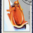 Postage stamp with the image of a bobsleigh — Foto Stock
