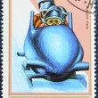Postage stamp with the image of a bobsleigh — Stock fotografie