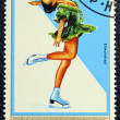 Postage stamp with the image of a figure skater — Stock fotografie