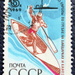 Postage stamp with the image of a rower — 图库照片