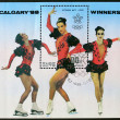 Postage stamp with the image of a figure skater - Stock Photo