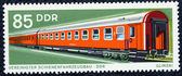 Postage stamp with the image of the wagon of the train — Stock Photo