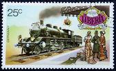 Estampilla con la imagen de la vieja locomotora — Foto de Stock