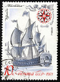 """Postage stamp with the image the ancient ship """"Poltava"""" — ストック写真"""