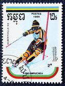 Estampilla con la imagen de un slalom de esquí — Foto de Stock