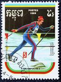 почтовая марка с изображением беговые лыжи — Стоковое фото
