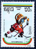 Postage stamp with the image of a hockey — Stock Photo