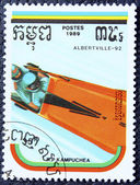 Postage stamp with the image of a bobsleigh — 图库照片