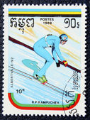 Postage stamp with the image of a ski jumper — Stock Photo