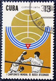 Postage stamp with the image of a boxers — Stock Photo