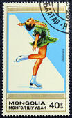 Postage stamp with the image of a figure skater — 图库照片
