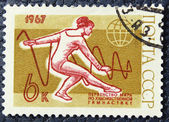 Postage stamp with the image of a gymnastics — Stock Photo