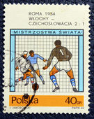 Postage stamp with the image of the football — Stock Photo