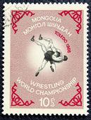 Affrancatura di francobolli con l'immagine lottatori — Foto Stock