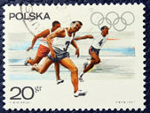 Postage stamp with the image of a runners. — Stock Photo