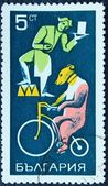 Postage stamp depicting the circus performers — Stock Photo
