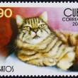 Postage stamp with the image of the fat cat - Stock Photo