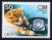 Frimärke med bilden av katten och telefon — Stockfoto