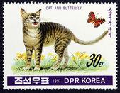 почтовая марка с изображением кота и бабочка — Стоковое фото
