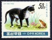 Znaczek pocztowy z wizerunkiem kotka, grający z piłką — Zdjęcie stockowe
