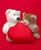 Two teddy bears with gift box in heart shape — Stock Photo
