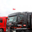 Trucks teams on Russian stage of the Superbike World Championship, on July 21, 2013, in Moscow Raceway, Moscow, Russia. — Stock Photo