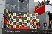 Russian stage of the Superbike World Championship, Award ceremony, Podium: Ayrton Badovini, on July 21, 2013, in Moscow Raceway, Moscow, Russia. — Stock Photo