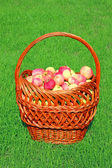 Big basket with red apples — Stock Photo