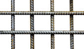 The lattice of reinforcing steel rods isolated — Stock Photo