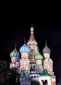 Cathedral of Basil Blessed in Moscow at night — Stock Photo