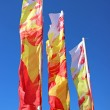 Colorful festive flags waving in the wind — Stock Photo