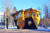 Upside down house in the Russian Exhibition Center in Moscow — Stock Photo