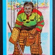 A stamp printed in the Cambodia, shows the hockey goalie — Stock Photo #40528617