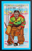 A stamp printed in the Cambodia, shows the hockey goalie — Stock Photo