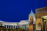 Kazan Cathedral in St. Petersburg at night — Stock Photo