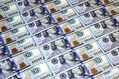 Background of one hundred American dollars banknotes — Stock Photo