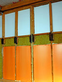 Walls of a frame house with different types of heat insulation — Stock Photo