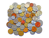Background of many metallic coins of different countries — Foto Stock
