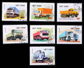 A stamp printed in the Vietnam, trucks — Zdjęcie stockowe