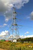 Mast electrical power line — Stock Photo