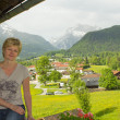 Stock Photo: Womon balcony in Bavaria